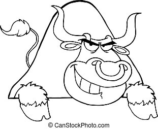 Outlined Bull Over A Sign Cartoon Character
