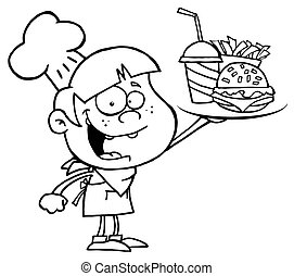 Outlined Burger Boy Holding Up A Cheeseburger, Fries And Cola