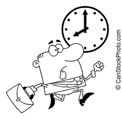 Outlined Businessman Being Late - Coloring Page Outline Of A...