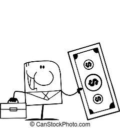Outlined Businessman Holding Dollar