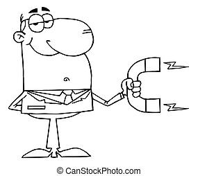 Outlined Businessman Using A Magnet