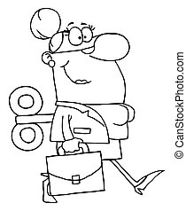 Outlined Businesswoman - Coloring Page Outline Of A Windup...