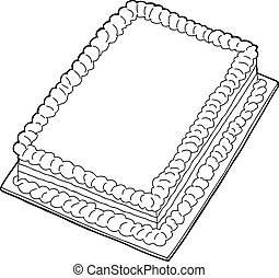 Outlined Cake - Fancy sheet cake with copy space in black...