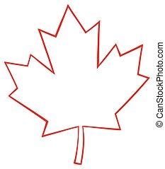 Outlined Canadian Maple Leaf Red Line Cartoon Drawing