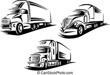 Outlined cargo trucks on a road
