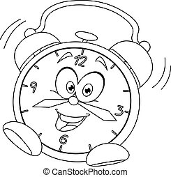 Outlined cartoon alarm clock. Vector illustration coloring...
