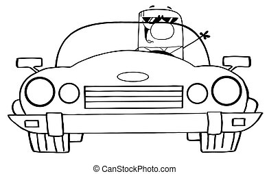 Outlined Cartoon Doodle Businessman Driving Convertible Car
