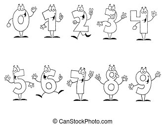 Outlined Cartoon Numbers Set - Digital Collage Of Outlined...