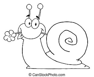 Outlined Cartoon Snail With A Flower In Its Mouth