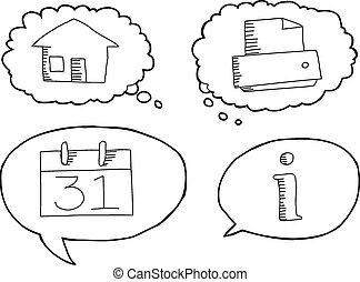 Outlined Cartoon Tech Symbols