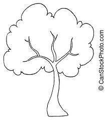 Outlined Cartoon Tree Illustration