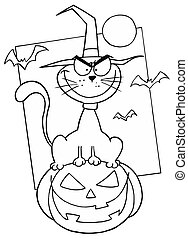 Outlined Cat on Pumpkin - Cartoon Character Outlined Cat on...