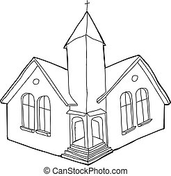 Single outline Christian church in white and black