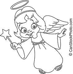 Outlined Christmas angel. Coloring page.