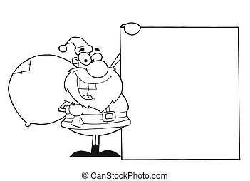 Outlined laughing santa claus. Coloring page outline of ...