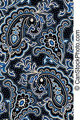 Outlined classic paisley on a dotted background