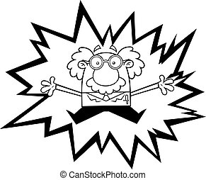 Outlined Crazy Science Professor Cartoon Character In Electric Shock