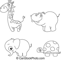 Outlined cute animals - Outlined cute animal set: giraffe,...
