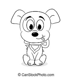 Outlined cute cartoon dog