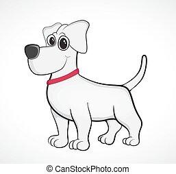Outlined cute cartoon dog. Vector illustration.