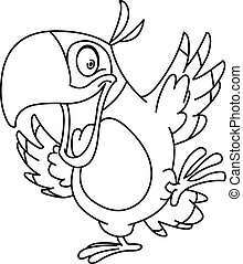 Outlined dancing parrot - Outlined happy parrot dancing....