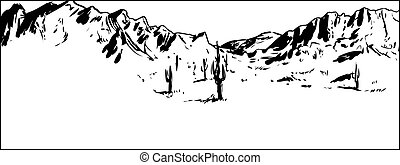 Outlined Desert Mountain Background with Clear Sky -...