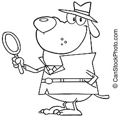 Outlined Detective Dog Holding A Magnifying Glass
