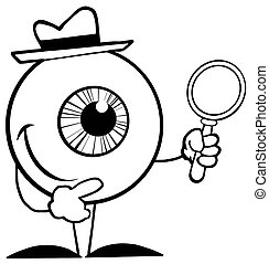 Outlined Detective Eyeball Holding A Magnifying Glass