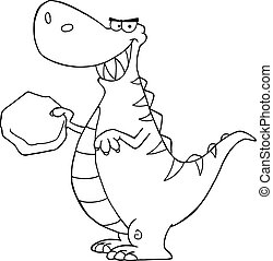 Outlined Dinosaur Cartoon Character