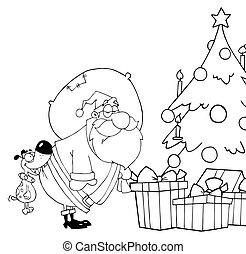 Outlined Dog Biting Santas