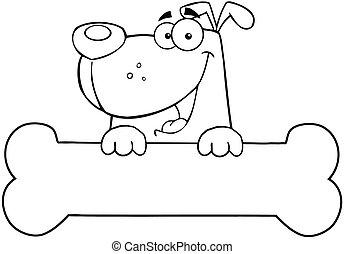Outlined Dog Over Bone Banner - Outlined Cartoon Dog Over...