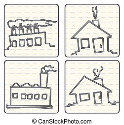 Outlined Doodle Cartoon vector air