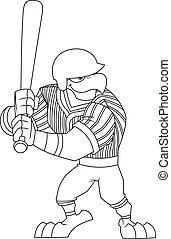 Outlined Eagle Baseball Player Cartoon Character Batting Side
