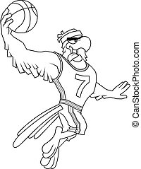 Outlined Eagle Basketball Player Cartoon Character Moving Dribble
