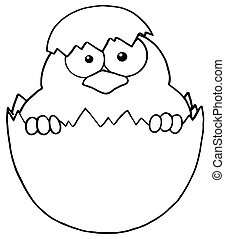 Outlined Easter Chick In A Shell
