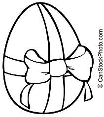 Outlined Easter Egg With Ribbon