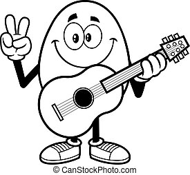 Outlined Egg Cartoon Character With Guitar Showing Peace Hand Sign