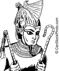 Outlined Egyptian God Osirus - Outlined illustration of...