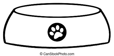 Outlined Empty Dog Bowl - Black And White Dog Bowl Food Dish...