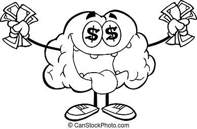 Outlined Euro Money Loving Brain