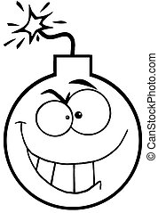 Outlined Evil Bomb Character - Outlined Crazy Evil Bomb...
