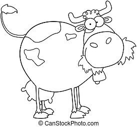 Outlined Farm Dairy Cow Cartoon Character