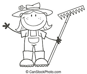 Outlined Farmer Girl