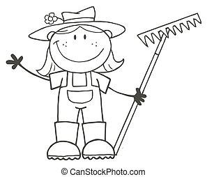 Outlined Farmer Girl Holding A Rake And Waving