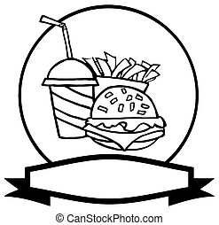 Outlined Fast Food Logo Of Soda, Fries And A Burger Over A Blank Label