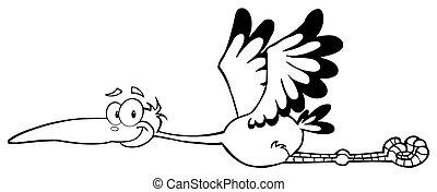 Outlined Flying Stork