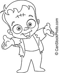 Outlined Frankenstein kid