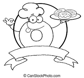 Outlined Friendly Donut - Royalty-Free (RF) Clipart...