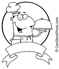 Outlined Friendly Male Chef Holding A Platter Over A Blank...