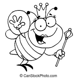 Outlined Friendly Queen Bee